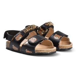 Moschino Kid-Teen Black Bear and Gold Logo Leather Sandals
