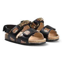 Moschino Kid-Teen Black Bear and Gold Logo Leather Sandals 9104