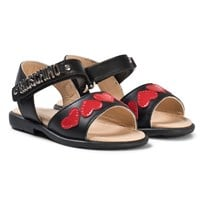 Moschino Kid-Teen Black Heart and Logo Leather Sandals 9102
