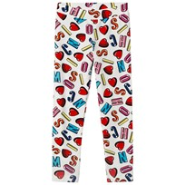 Moschino Kid-Teen White Multi Heart and Branded Leggings 83211