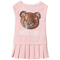 Moschino Kid-Teen Pink Sequin Bear Pleated Skirt Dress 50413