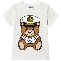Moschino Kid-Teen Sailor Bear Print Branded T-shirt Vit 10063