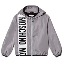 Moschino Kid-Teen Grey Stripe Branded Hooded Windbreaker 60044