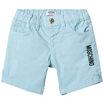 Moschino Kid-Teen Pale Blue Branded Chino Shorts 40452