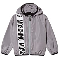 Moschino Kid-Teen Stripe Branded Hooded Windbreaker Grå 60044