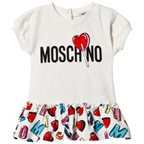 Moschino Kid-Teen White Branded Dress with Multi Sweet Skirt 83211