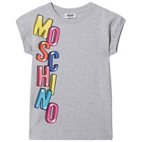 Moschino Kid-Teen Branded Sweatdress i Grå med tryck i Multifärg 60901