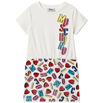 Moschino Kid-Teen Heart and Logo Jerseyklänning Vit 83211