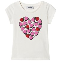 Moschino Kid-Teen Heart Print Topp Vit 10063