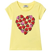 Moschino Kid-Teen Heart Print Topp Gul 50916