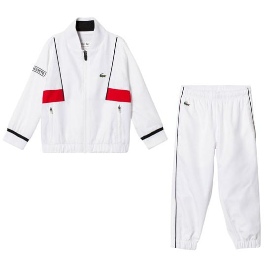 Lacoste White and Red Tracksuit White/Black-Red