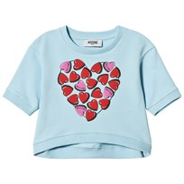 Moschino Kid-Teen Blue Heart Print Logo Short Sleeve Sweatshirt 40452