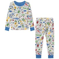 Hatley Dinos and Aliens Doodles Pajama Set White White
