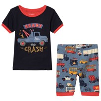 Hatley Rush Hour Applique Short Pajama Set Navy Navy