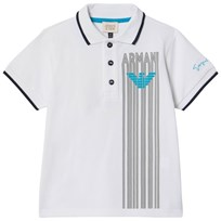 Armani Junior White Striped Logo Polo 1100