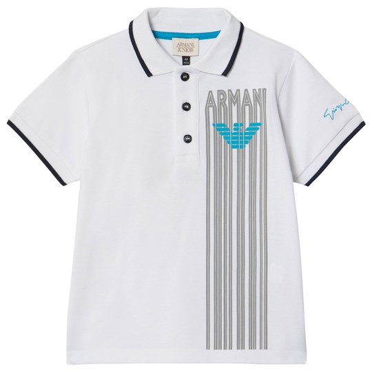 Emporio Armani White Striped Logo Polo 1100