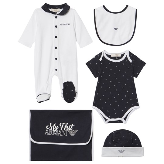 Armani Junior Navy Babygrow, Bib and Hat and Body Gift Set 15K5