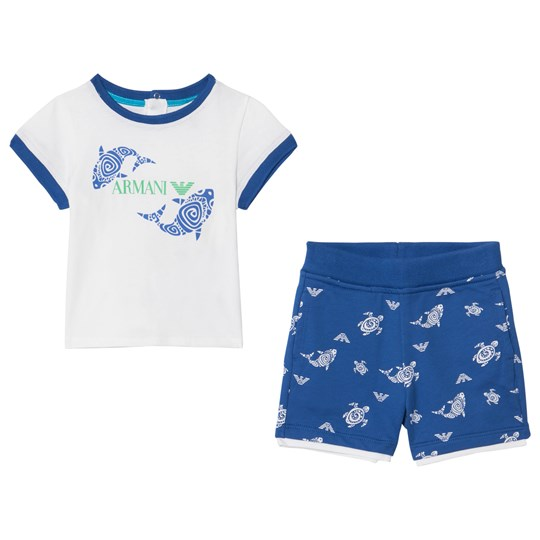 Emporio Armani White Fish Tee and Blue Shorts Set 1100