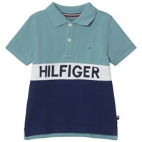 Tommy Hilfiger Navy and Blue Branded Polo 407