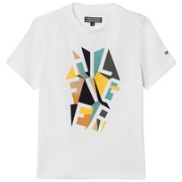 Tommy Hilfiger White Geometric Branded Tee 123