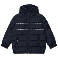 Tommy Hilfiger Navy Branded Hooded Puffer Coat 002