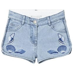 Stella McCartney Kids Blue Emma Embroidered Shells Denim Shorts