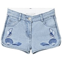 Stella McCartney Kids Emma Embroidered Shells Jeans Shorts Blå 4160