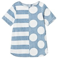 Stella McCartney Kids Blue Spots and Stripe Bess Denim Dress 4266