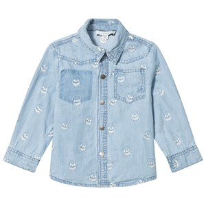 Image of Stella McCartney Kids Blue Melvil Embroidered Skull Shirt 2 years (2931857713)