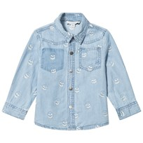 Stella McCartney Kids Blue Melvil Embroidered Skull Shirt 4160