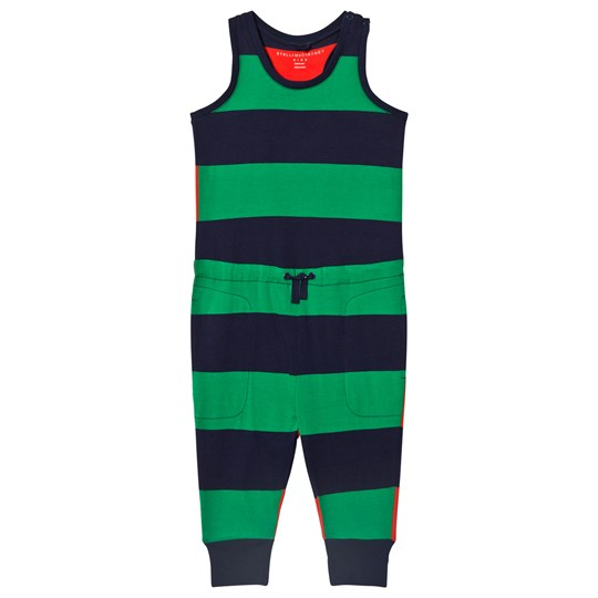 Stella McCartney Kids Green and Navy Stripe Jersey Flo Jumpsuit 3065
