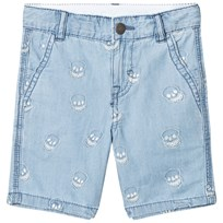 Stella McCartney Kids Blue Embroidered Skull Lucas Denim Shorts 4160