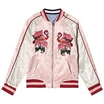 Guess Blue Embroidered Tiger Reversible into Pink Bomber Jacket G6E7