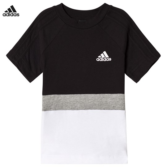 adidas Performance Black Colour Block Tee BLACK/MEDIUM GREY HEATHER/WHITE