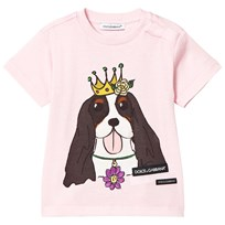 Dolce & Gabbana Pink King Charles Spaniel Branded Tee (Chinese New Year) HFN12