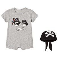 Dolce & Gabbana Grey Dolce and Gabbana Pirates Applique Romper with Pirate Hat HJM19