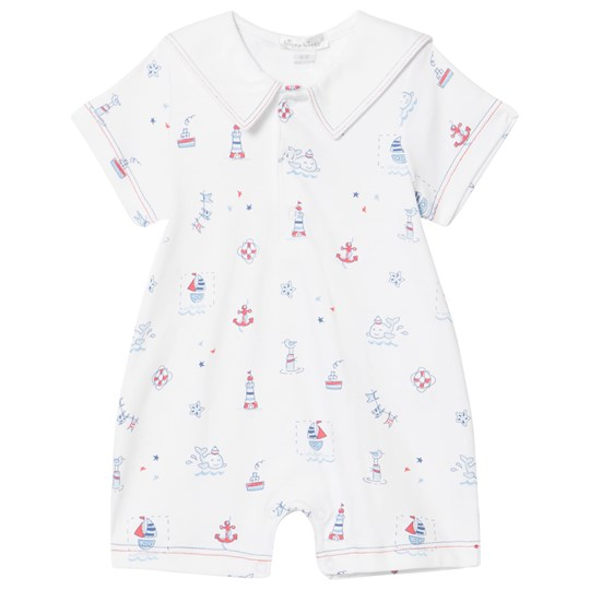 Kissy Kissy White Sea Print Romper with Embroidered Sailor Collar WH