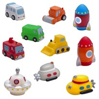 rattstart Vehicles and Space Invaders Bath Toys, 10 Pack Red