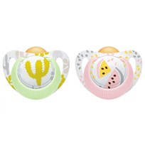 NUK Genius Color Latex Pacifier 6-18M Pink Melon/Green Cactus (2-Pack) Rosa/Grön