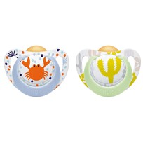 NUK Genius Color Latex Pacifier 0-6M Blue Crab/Green Cactus (2-Pack) Blå/grön