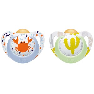 Image of NUK Genius Color Latex Pacifier 6-18M Blue Crab/Green Cactus (2-Pack) (3125234087)