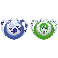 NUK Genius Color Silicone Pacifier 6-18M in Blue Whale/Green Monster (2-Pack) Blå/grön