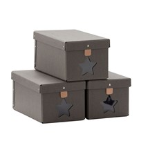 Kids Concept Shoe Storage Boxes Grey (3 Pack) Musta