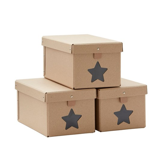 Kids Concept Shoe Storage Boxes Natural (3 Pack) Natural