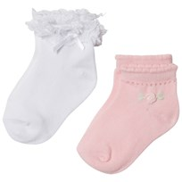 Mayoral Pale Pink and White Frill Socks (2 Pack) 28