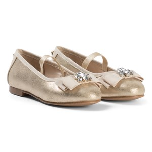 Image of Mayoral Gold Shimmer Bow and Jewel Detail Pumps 29 (UK 11) (3056058949)