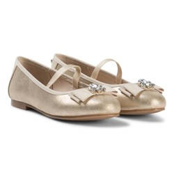 Mayoral Gold Shimmer Bow and Jewel Detail Pumps