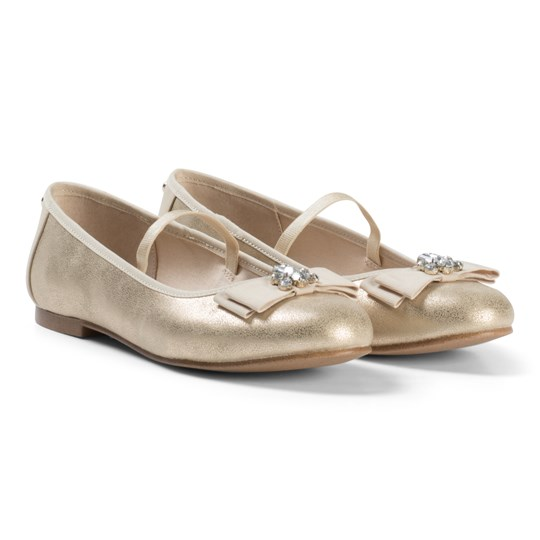 Mayoral Gold Shimmer Bow and Jewel Detail Pumps 70