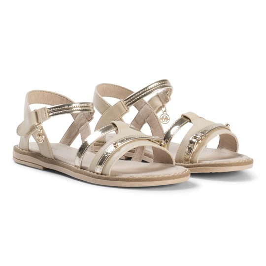 Mayoral Beige and Gold Patent Sandals 18