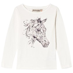 Minymo Sweater Piper 92 Horse Print White
